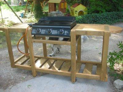 Meuble en bois pour une plancha construction roulotte for Meuble exterieur pour plancha